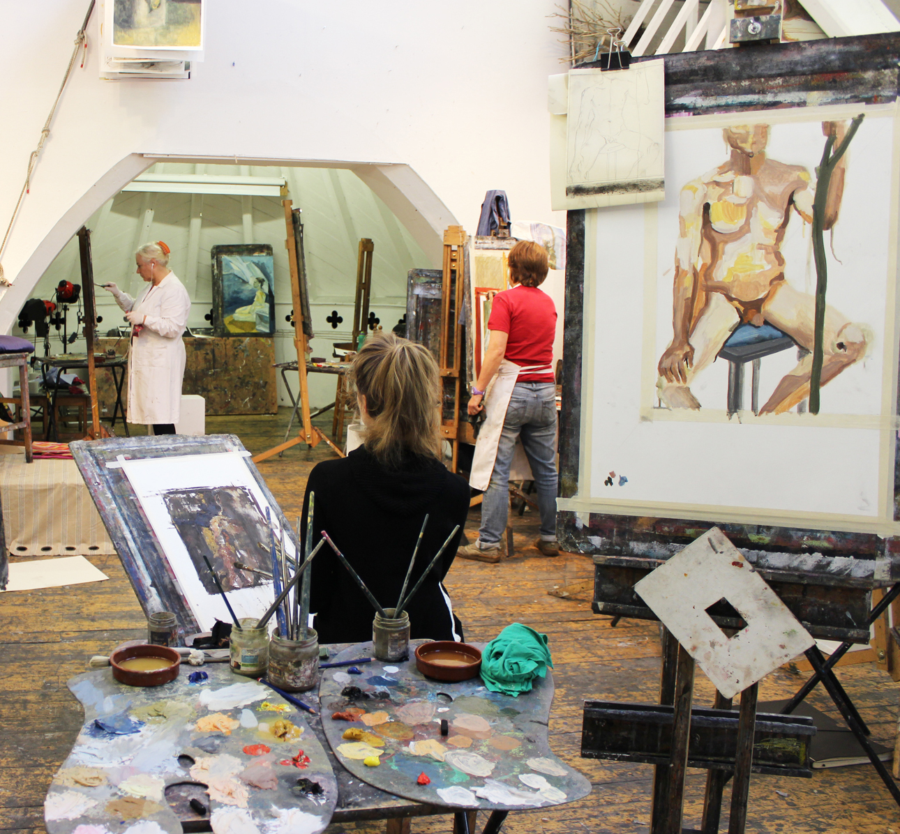 Life painting in the studio